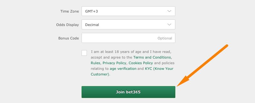 bet365 форма регистрации